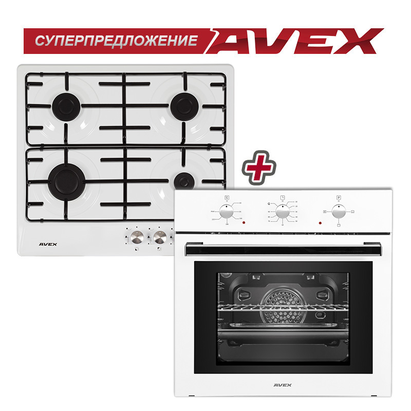 Set the cooktop AVEX NS 6040 W and  electric oven AVEX SW 6060