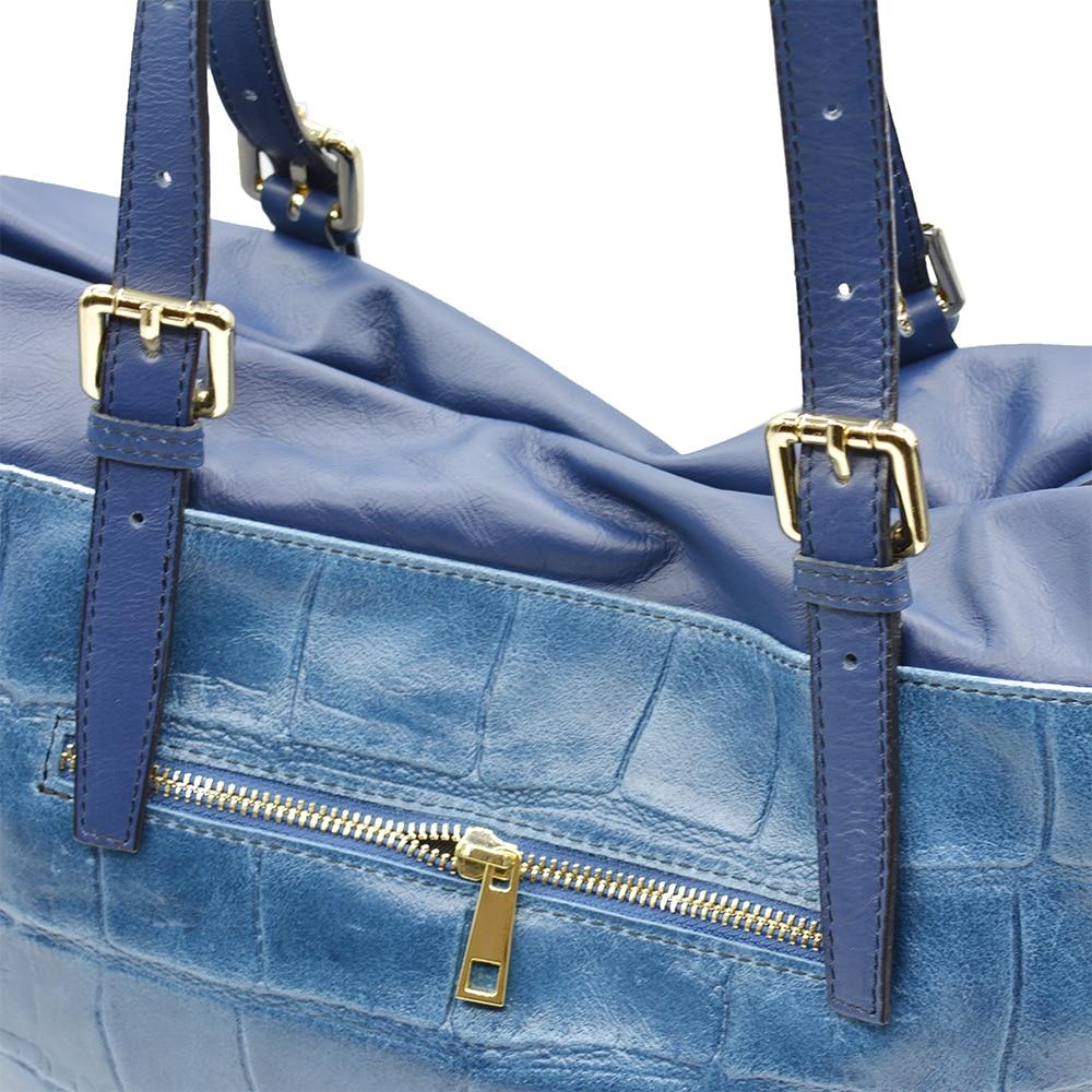 Handbag For Woman Blue Fashion Genuine Leather Shopping Bag 1
