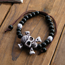 Bracelets and bracelet pirate skull beads for men women lovers Halloween decoration gifts