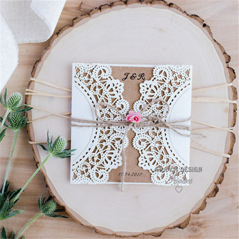 Country White Paper Flower Rustic Laser Cut Wedding Invitations
