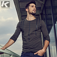 KUEGOU 2017 NEW Fashion Autumn Men T Shirt Brands Casual Slim Men Tshirt 2129