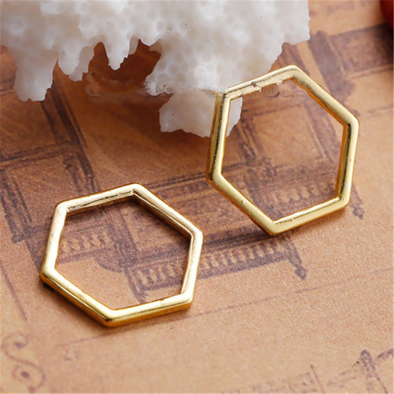 8Seasons Zinc Based Alloy Connectors Findings Honeycomb Gold Plated Hollow DIY Components 17mm( 5/8