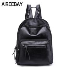 ФОТО aireebay brand women leather backpacks female school bags for girls rucksack 2018 new preppy style black travel bagpack
