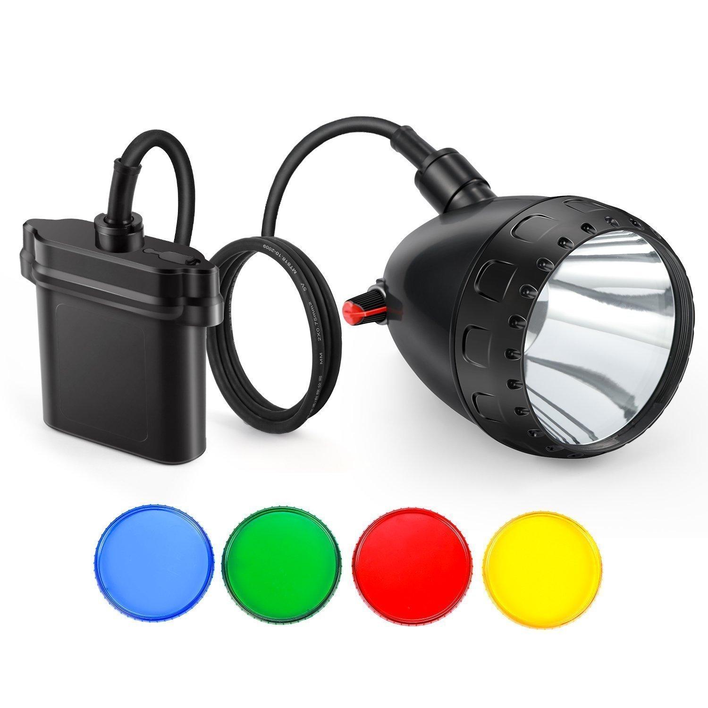 Kohree Cree U2 10 W a mené la lumière principale d'exploitation avec les filtres Dimmable Rechargeable 11000 mah batterie phare Camping prédateur chasse