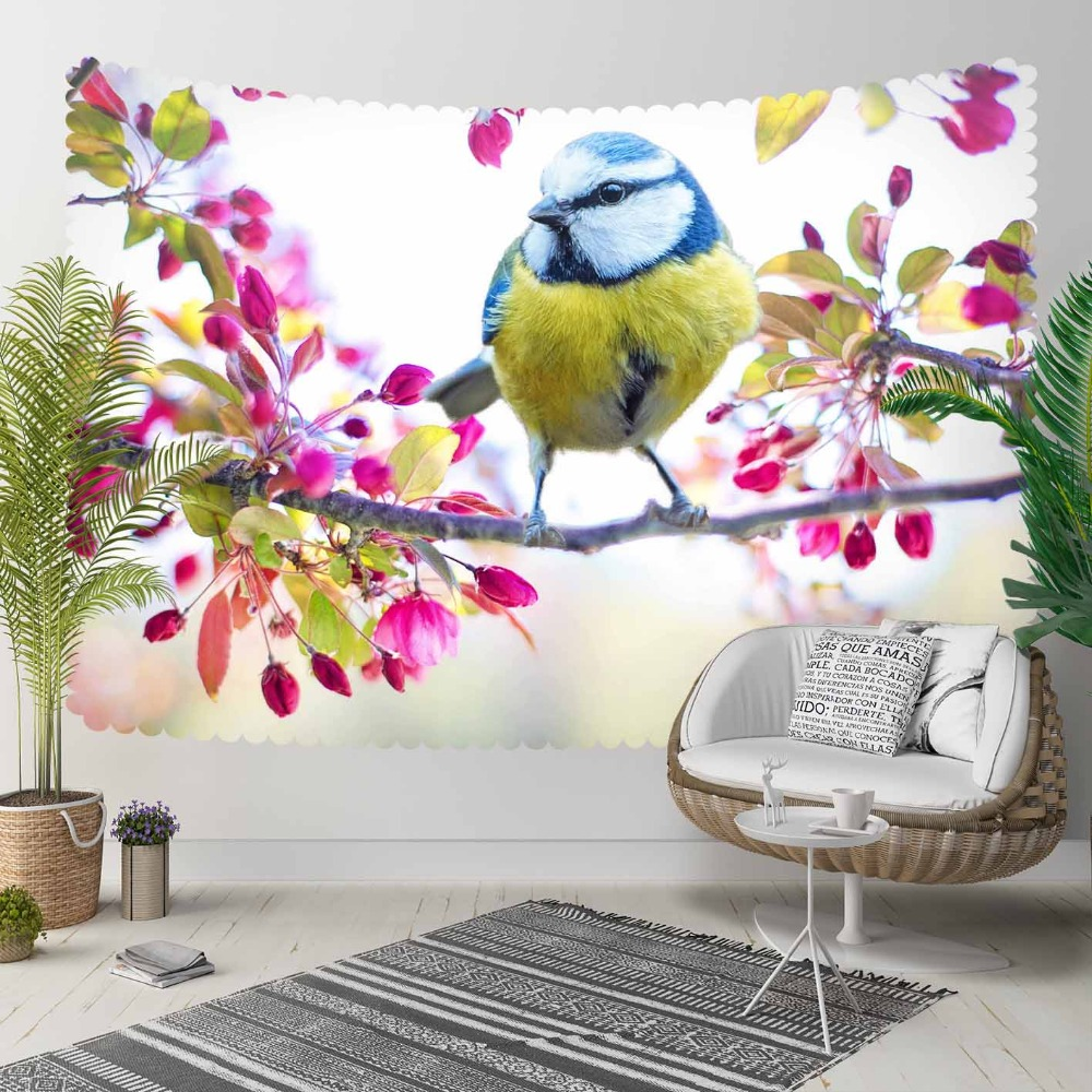 Else Pink Flowers Brown Tree Branch Yellow Blue Bird 3D Print Decorative Hippi Bohemian Wall Hanging Landscape Tapestry Wall Art