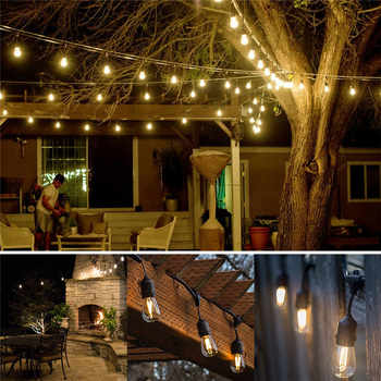 Waterproof 10M 10 LED Bulbs String Lights Indoor Outdoor Commercial Grade E26 E27 Street Garden Backyard Holiday String Lighting