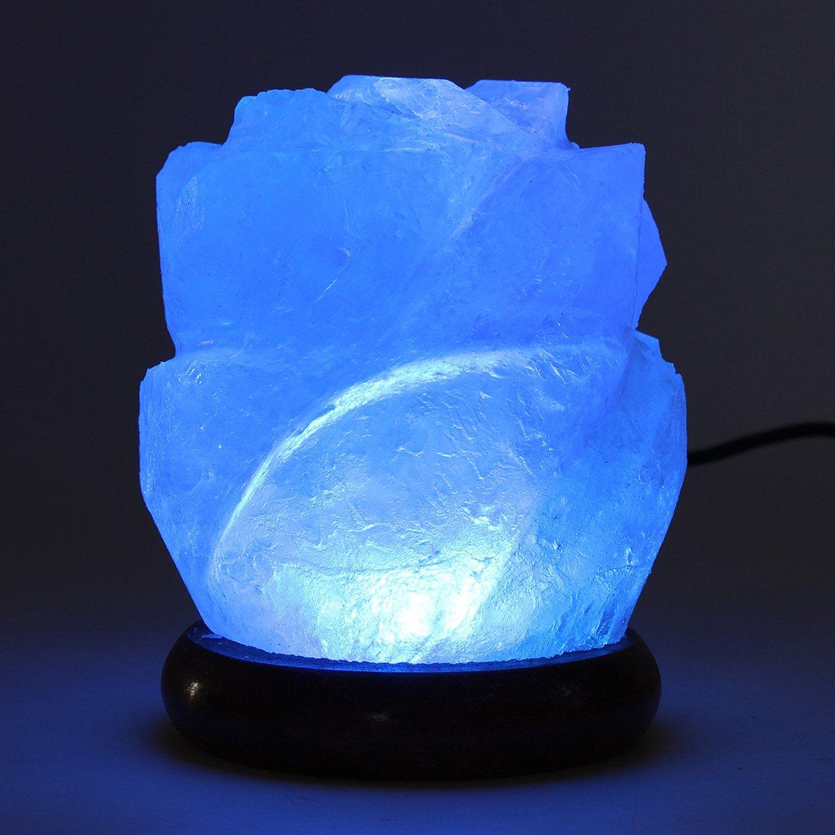 Purificateur d'air Lampe De Sel Cristal Nuit Lumière En Bois Base USB Alimenté Table Lampe De Bureau De Chevet Décoration de La Maison Éclairage Cadeau
