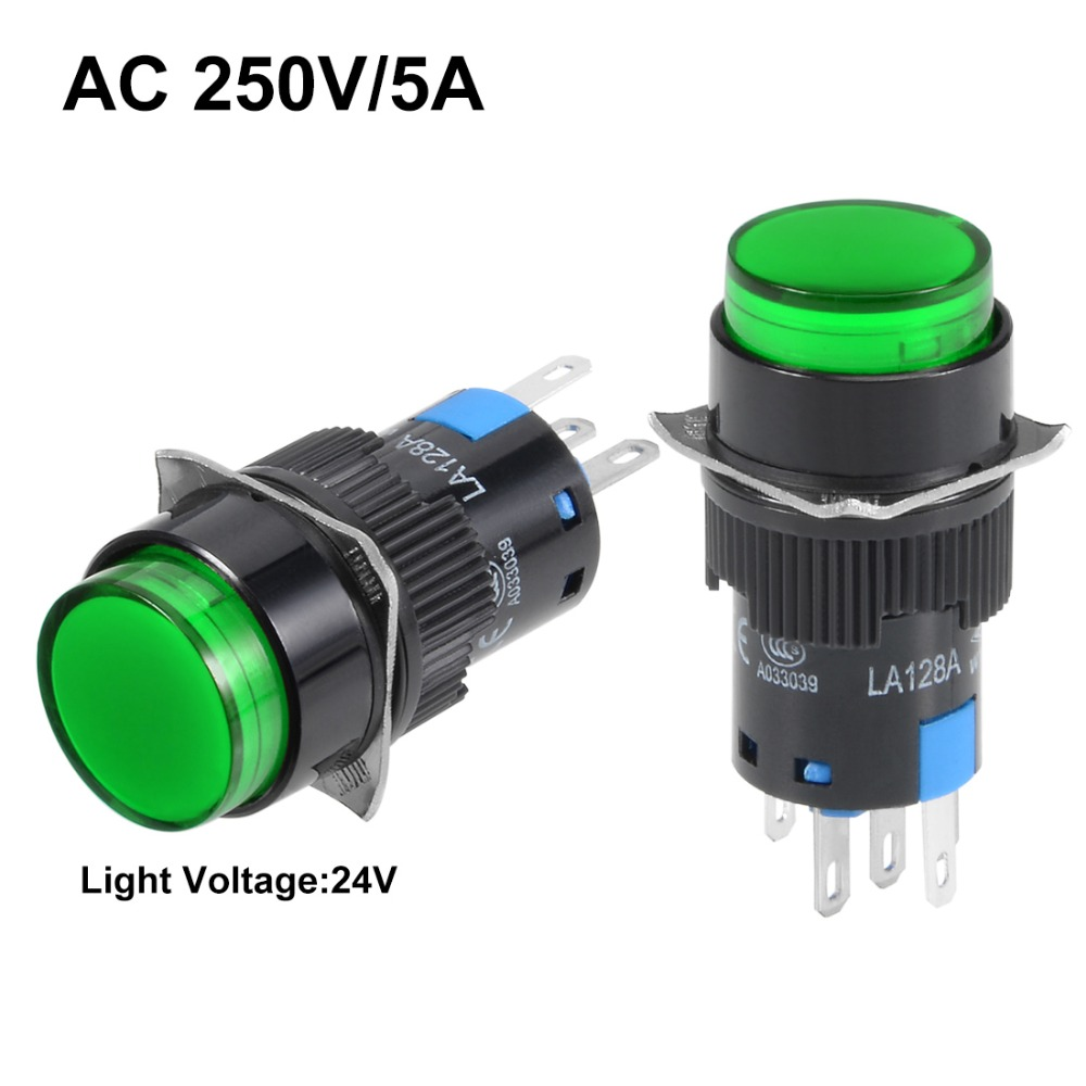 UXCELL 1 PCS Switch 16mm Latching Push Button Green Or Red Round Flat NO NC Light 24V Accessories