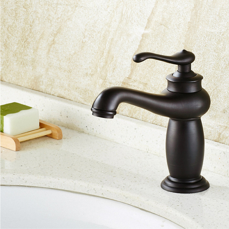 Bathroom Sink Faucet, Oil Rubbed Bronze / Black, One Handle Lever, Hot /
