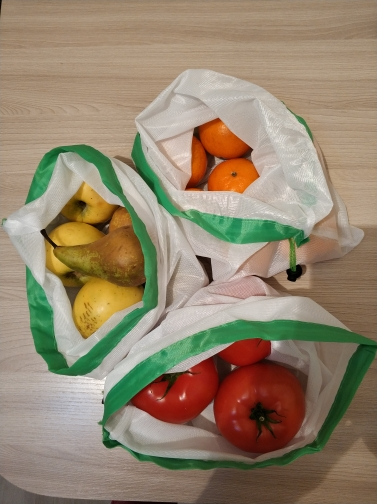 1PC Reusable Mesh Produce Bags Washable Eco Friendly Bags for Grocery Shopping Storage Fruit Vegetable Handbag Shopping Bags photo review