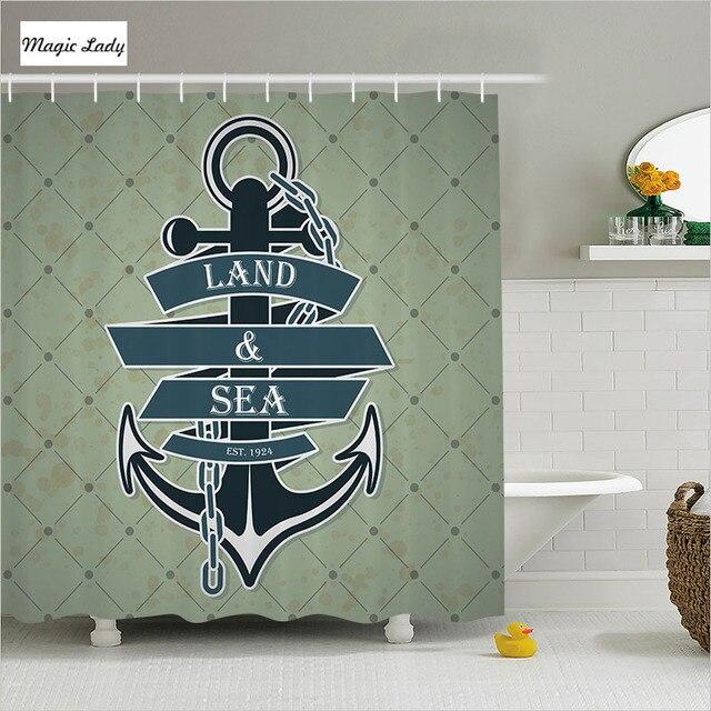 Shower Curtain Bathroom Accessories Anchor Navy Maritime Chain Ribbon Land Sea Modern Art Decor Blue 180