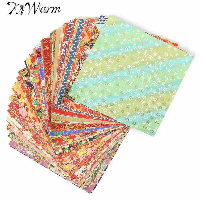 KiWarm 100แผ่นผสมแบบญี่ปุ่นดอกไม้ดอกไม้O Rigamiกระดาษพับวัสดุที่ทำด้วยมือพับกระดาษหัตถกรรม14x14เซนติเมตร