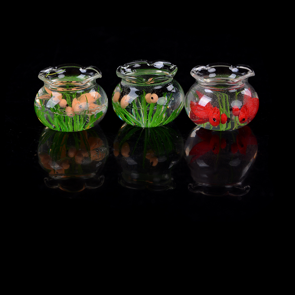Pretend Play Glass Fish Tank Transparent Aquarium Dollhouse Home Ornaments Kids Toys Doll Toy Gift Pretend Play Toys 1:12 Dollhouse Miniature Furniture Toys