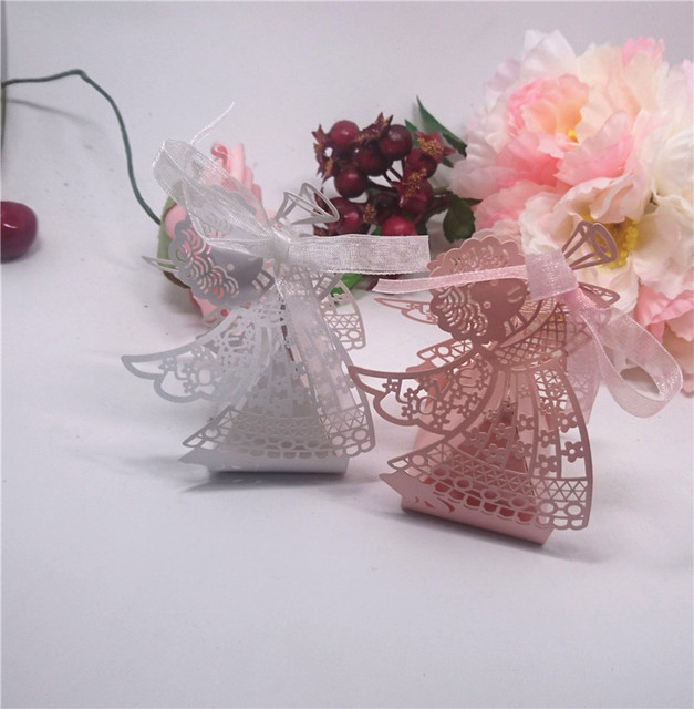 Laser Cut Angel Wedding Candy Box 50pcs Pink White Favor Boxes Baby