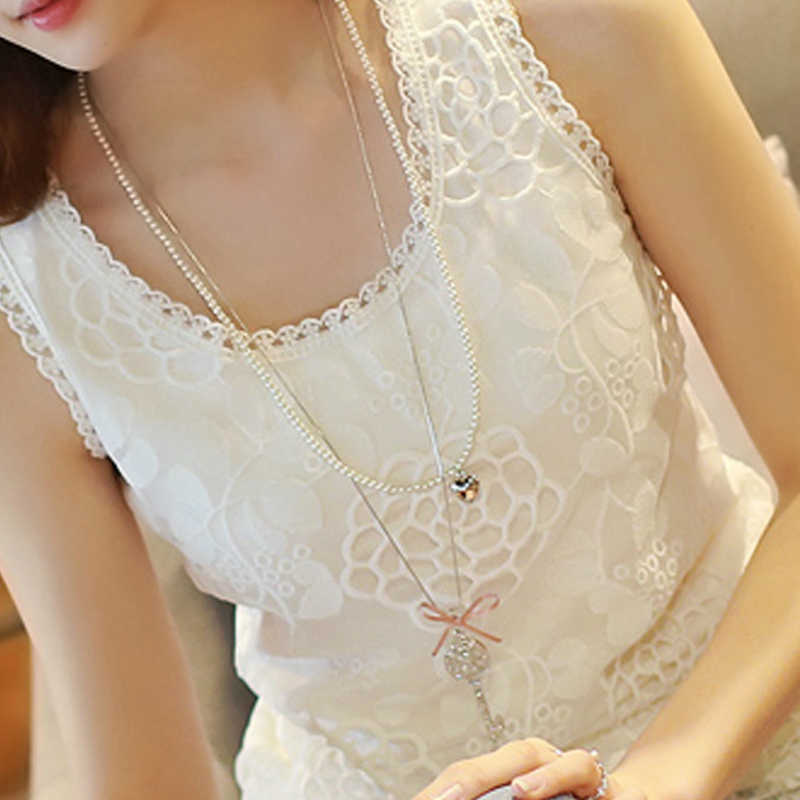 6xl White Blouse Shirt Sleeveless Plus Size Women's  Crochet Lace Tops Flower Blusas Feminino Summer Elegant Women Clothes 2019