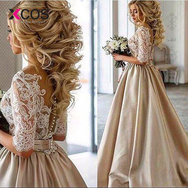 Antique Dressing Gown: XCOS Vintage Lace Champagne Wedding Dresses 2018 Sheer