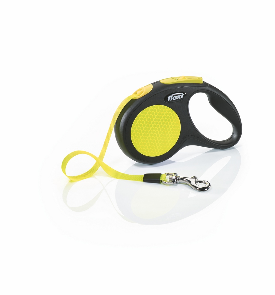 Lead tape measure Flexi for dogs Neon New Classic S (up to 15 kg), tape, 5 m. Dog Accessories wholesale wholesale steel tape wholesale tape 3 m 5 m 7 5 m 10 m tape measure and cheap
