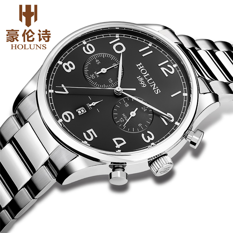 Top Brand Holuns Men Watch Luxury Sport Casual Wristwatch Quartz Male Clock Stainless Steel Fashion Erkek Kol Saati orkina fashion casual men clock black stainless steel case male watches japan quartz movement water resistant erkek kol saati