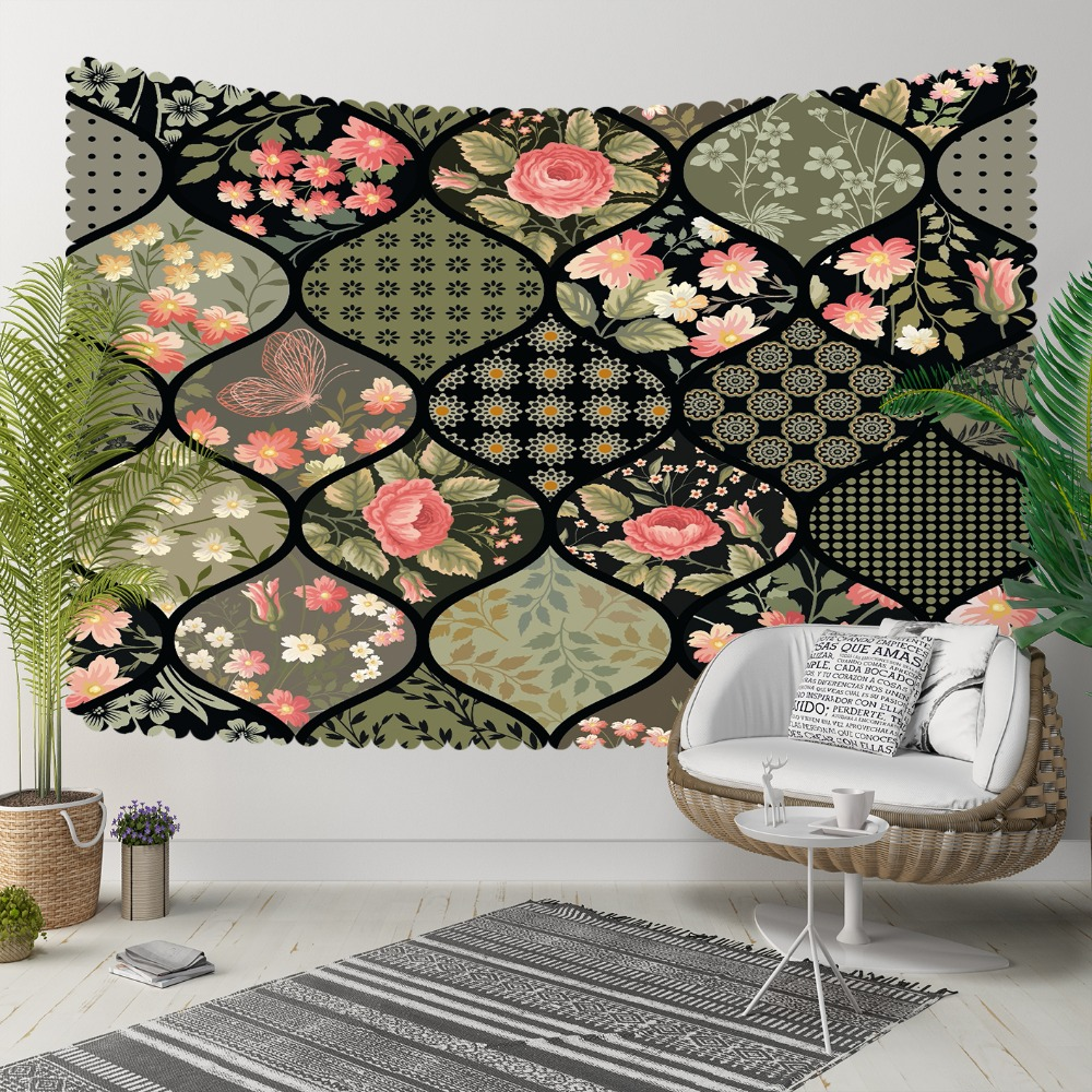 Else Black Green Patchwork Flowers Geometric Turkish 3D Print Decorative Hippi Bohemian Wall Hanging Landscape Tapestry Wall Art