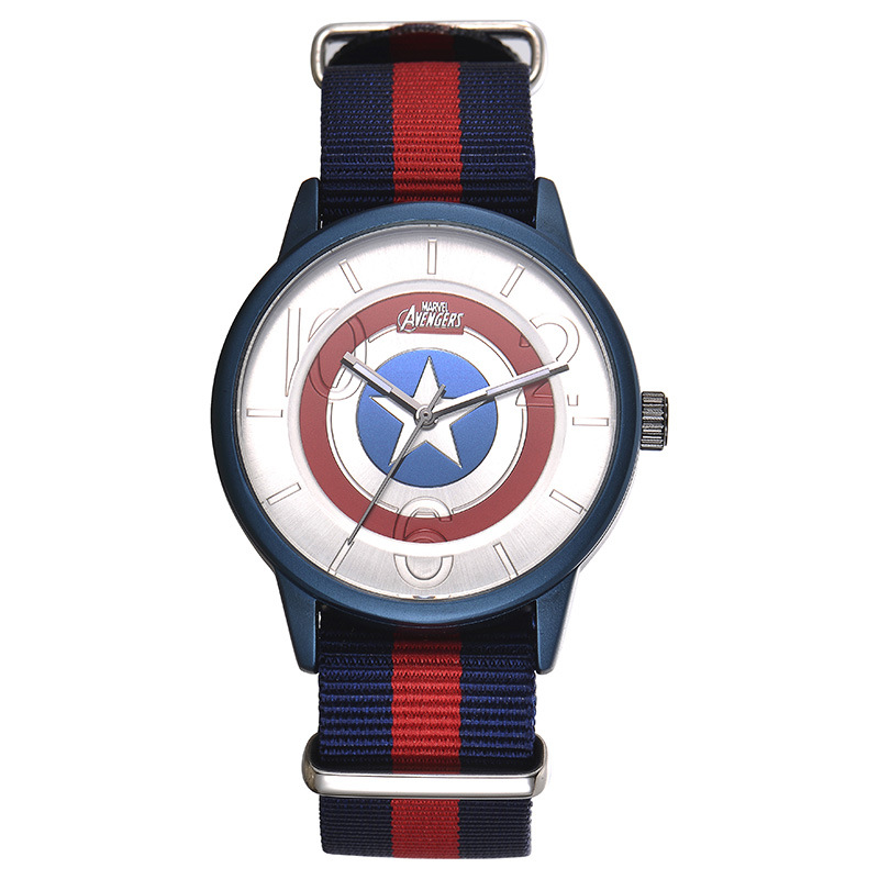 Disney brand fashion children watches Captain America shield cartoon students boys clocks waterproof leather quartz wristwatches 100% genuine disney fashion children watches for boys students captain america iron man leather watch strap luxury brand design