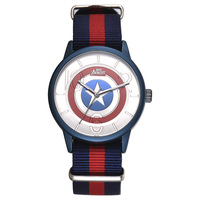 Disney brand fashion children watches Captain America shield cartoon students boys clocks waterproof leather quartz wristwatches