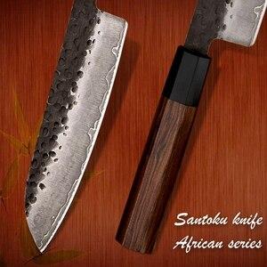 Image 3 - Santoku bıçak el dövme 7 inç 3 katmanlar japon AUS10 yüksek karbonlu paslanmaz çelik şef mutfak pişirme araçları eko dostu