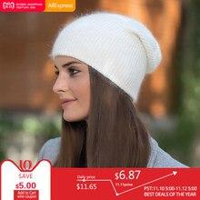 BEFORW 2018 rojo vino blanco azul café gris conejo piel Beanie sombrero  mujer invierno tejido lana Skullies gorro otoño señoras 29e3f13a1e9