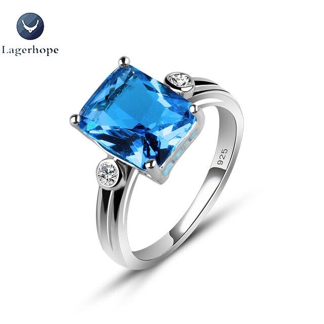 Nowy projekt wykwintne pierścionek zaręczynowy 925 Sterling srebrny niebieski kwadrat kryształ cyrkonia biżuteria obrączki dla kobiet