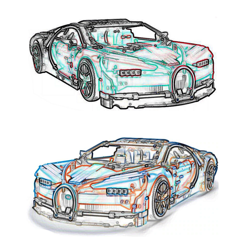 20086 LEGOING Technic série 4031 pièces bleu et rouge Supercar voiture modèle blocs de construction anniversaire cadeau jouets pour enfants 42083