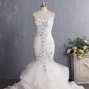 Image 4 - Vestido De Novia 2020 Vintage Beading Mermaid Wedding Dress Long Organza Embroidery Wedding Gown Sexy Backless Bridal Dress