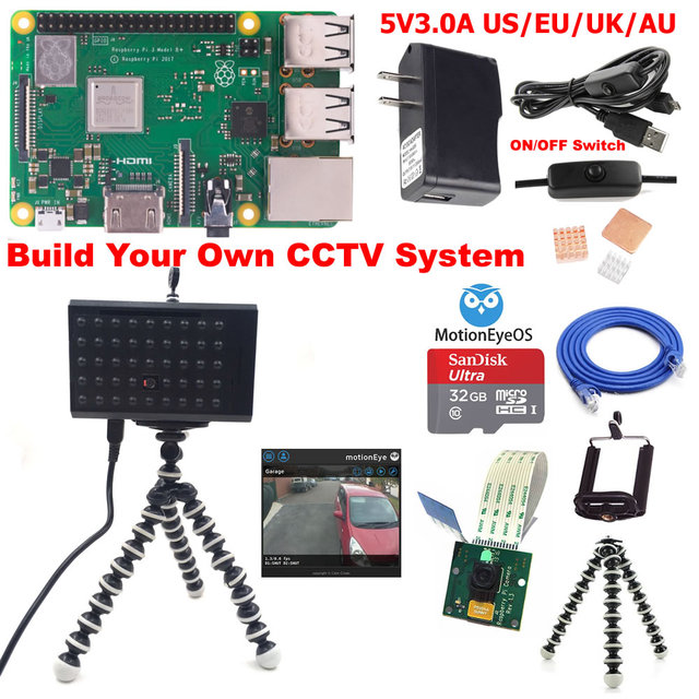 US $38 87 |Raspberry Pi 3 Model B+ B Plus CCTV Camera Kit C3B01-in Demo  Board from Computer & Office on Aliexpress com | Alibaba Group