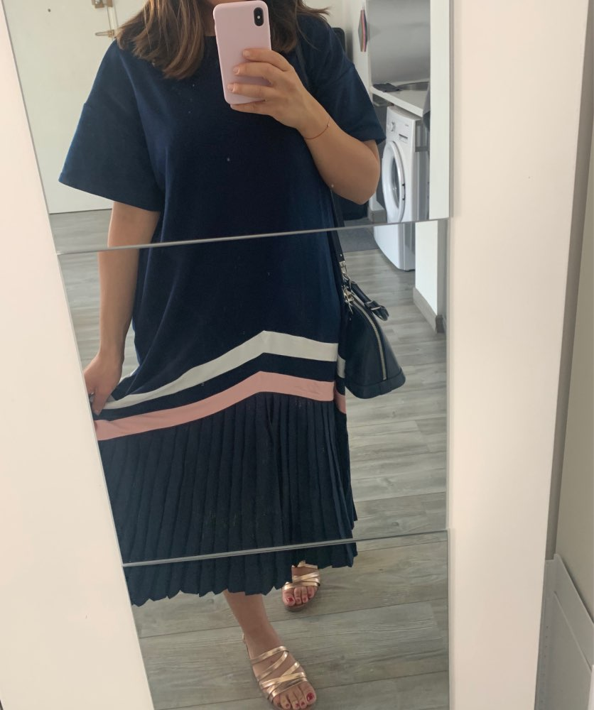 Korean Summer Women Black Blue Long Pleated Dress Striped Plus Size Lady Cute Casual Dress Robe Femme Loose Style photo review