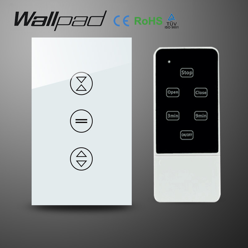 AU US 110 240V RF Remote Control Touch Curtain Switch White Crystal Glass Wireless remote control Blind Switch Free Shipping