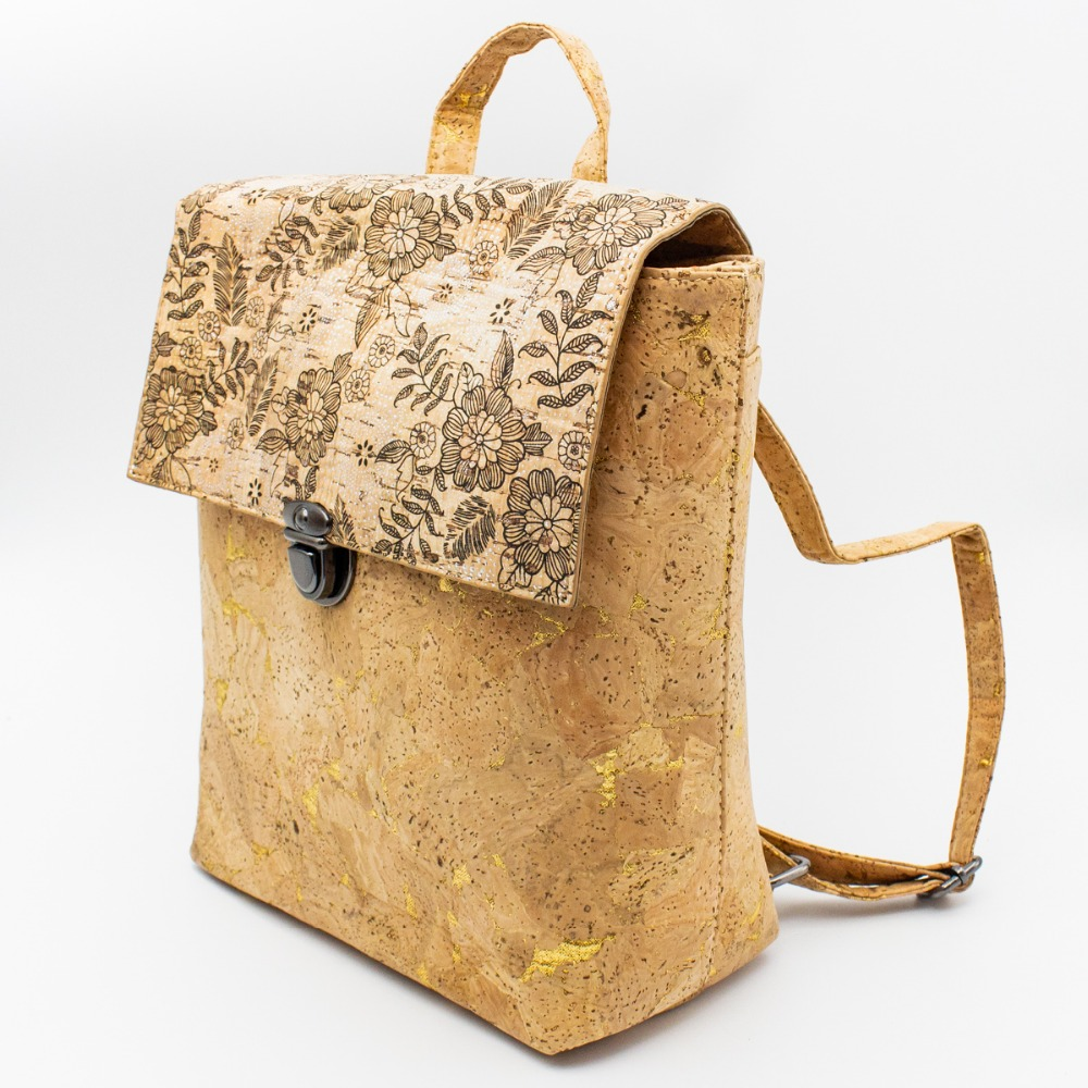 все цены на Cork bags Cork Backpack for women natural cork with golden detail Black flower pattern Original handmade backpack BAG-320-B онлайн