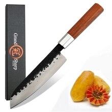 יד מזויפת Santoku סכין 7 אינץ גבוה פחמן פלדה שף מטבח סכיני חיתוך בישול כלים סשימי סושי חיתוך עץ ידית