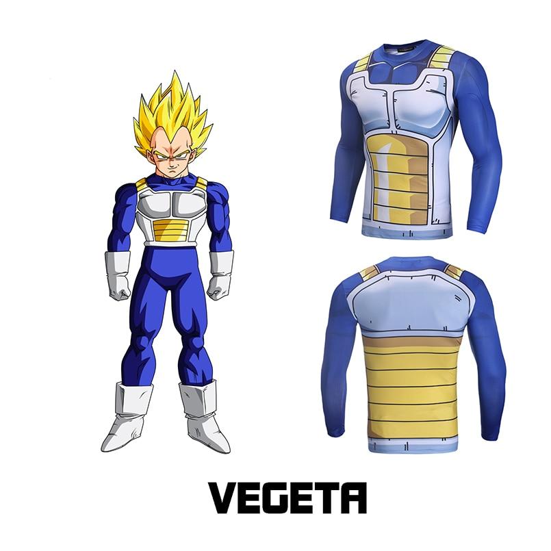 2018 free shipping Long Sleeve Anime Camiseta Harajuku T shirt Vegeta T-shirts Dragon Ball Printed tops Compression Fitness Tops