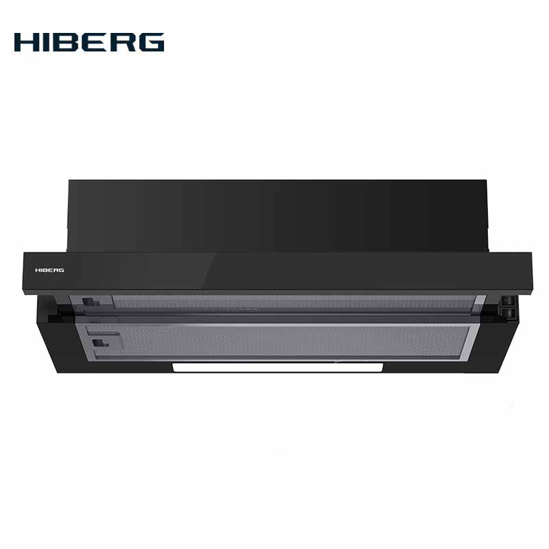 Built-in Hood HIBERG VB 6040 GB, Slider, With Black Glass On The Panel Kitchen Built-in Stainless Steel Home Appliances Black