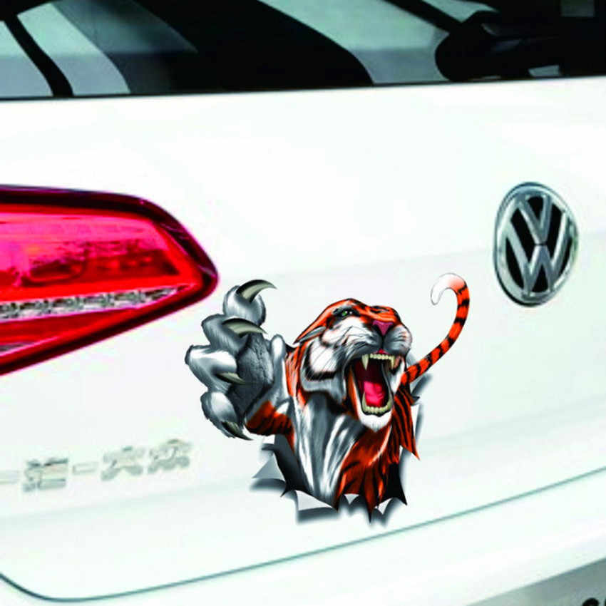 3D Tiger Stiker Mobil Goresan Penutup Auto Styling Pintu Cermin Jendela Tubuh Interior Kartun Decal untuk BMW Benz Audi VW opel Toyota