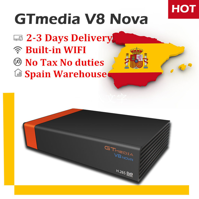 GTMedia V8 Nova BLUE Orange DVB-S2 Satellite Receiver+1 Year Free CCcam for Spain Portugal Germany Europe Decoder Set Top Box