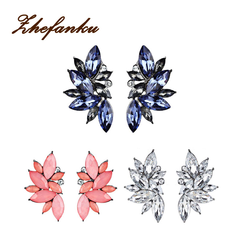 Big Flower Crystal Stud font b Earrings b font 2017 New Design Fashion Party Bohemian Jewelry