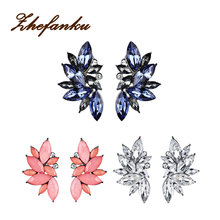 Big Flower Crystal Stud Earrings 2017 New Design Fashion Party Bohemian Jewelry For Women Gifts