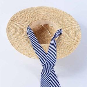 Image 5 - 2019 yeni kadın geniş Brim buğday hasır şapkalar yaz plaj güneş şapka lacivert çizgili şerit kravat şapka şapka meslek Derby kap