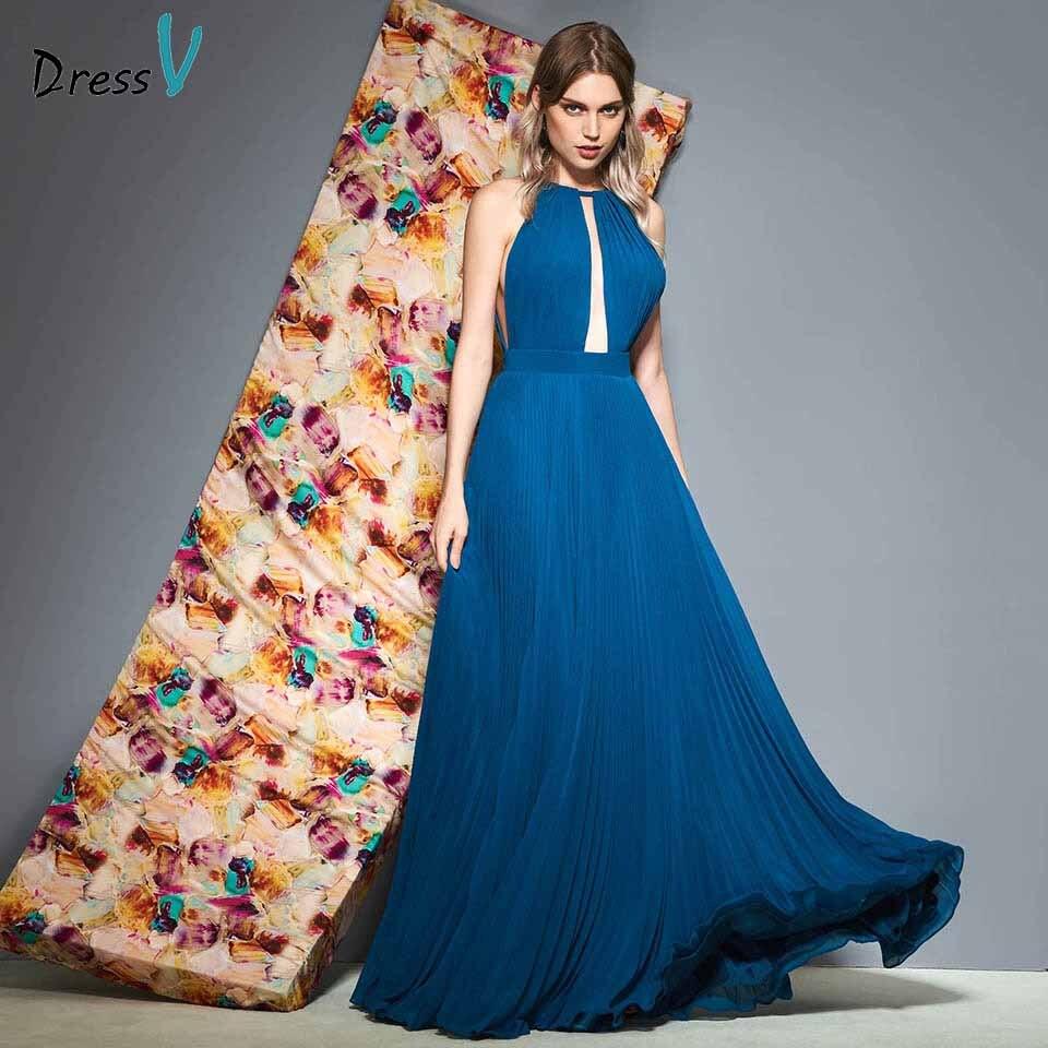 Dressv Party-Gown Elegant Evening Long Sleeveless Blue Floor-Length HALTER Pleat Customize