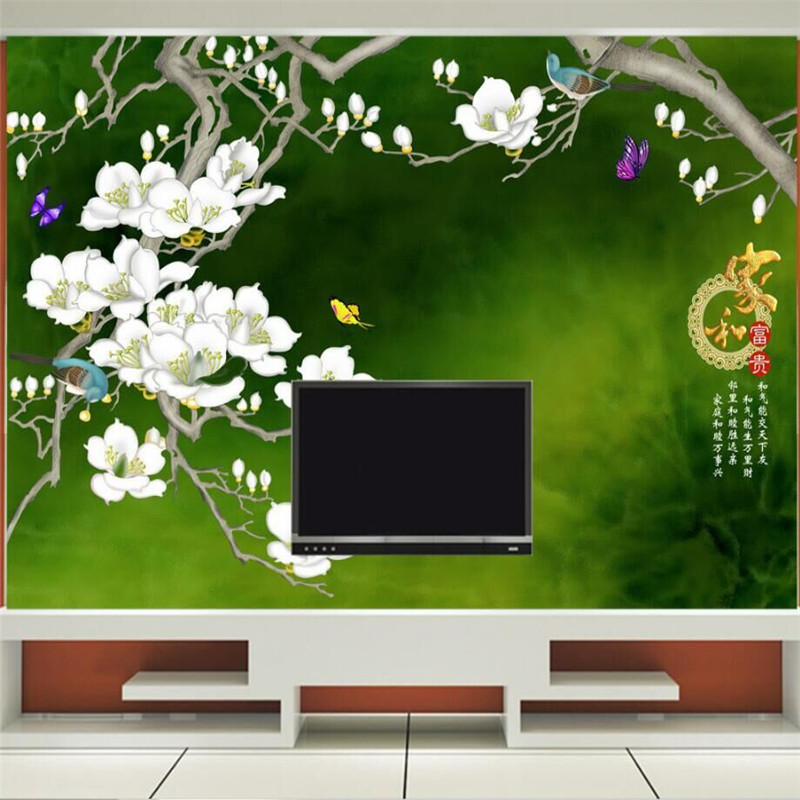 Home and rich hand-painted blossom TV background wall Chinese mural Custom wallpaper