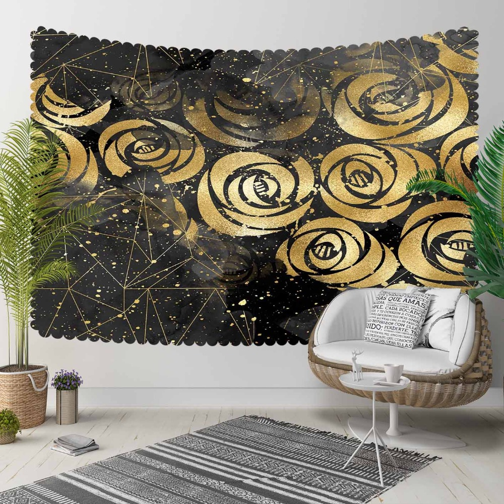 Else Black Gray Clouds Nordec Golden Yellow Roses 3D Print Decorative Hippi Bohemian Wall Hanging Landscape Tapestry Wall Art