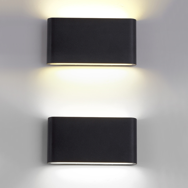 IP54. 12w Up and Down Aurora Outdoor LED Wall Light 240v Satin Silver