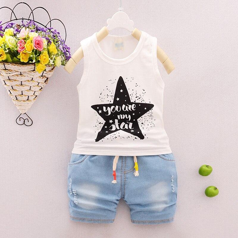 2 unid/set bebé niños ropa verano trajes camiseta + pantalones cortos de mezclilla