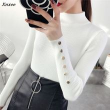 Half downneck female thickening 2018 new winter sweater slim all-match elastic knit Xnxee
