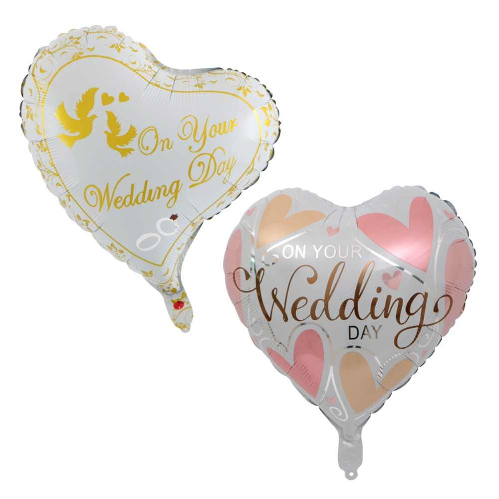 18 inch Wedding Decoration Heart Bride Groom Aluminium Foil Balloons Wedding Party Celebration love Helium Balloons Supplies