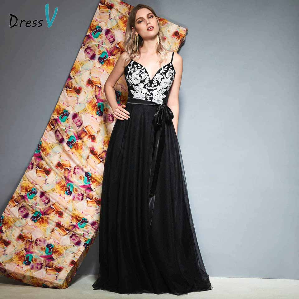 Dressv Spaghetti-Straps Party-Gown Appliques-Sales Evening Elegant Black Long Sleeveless